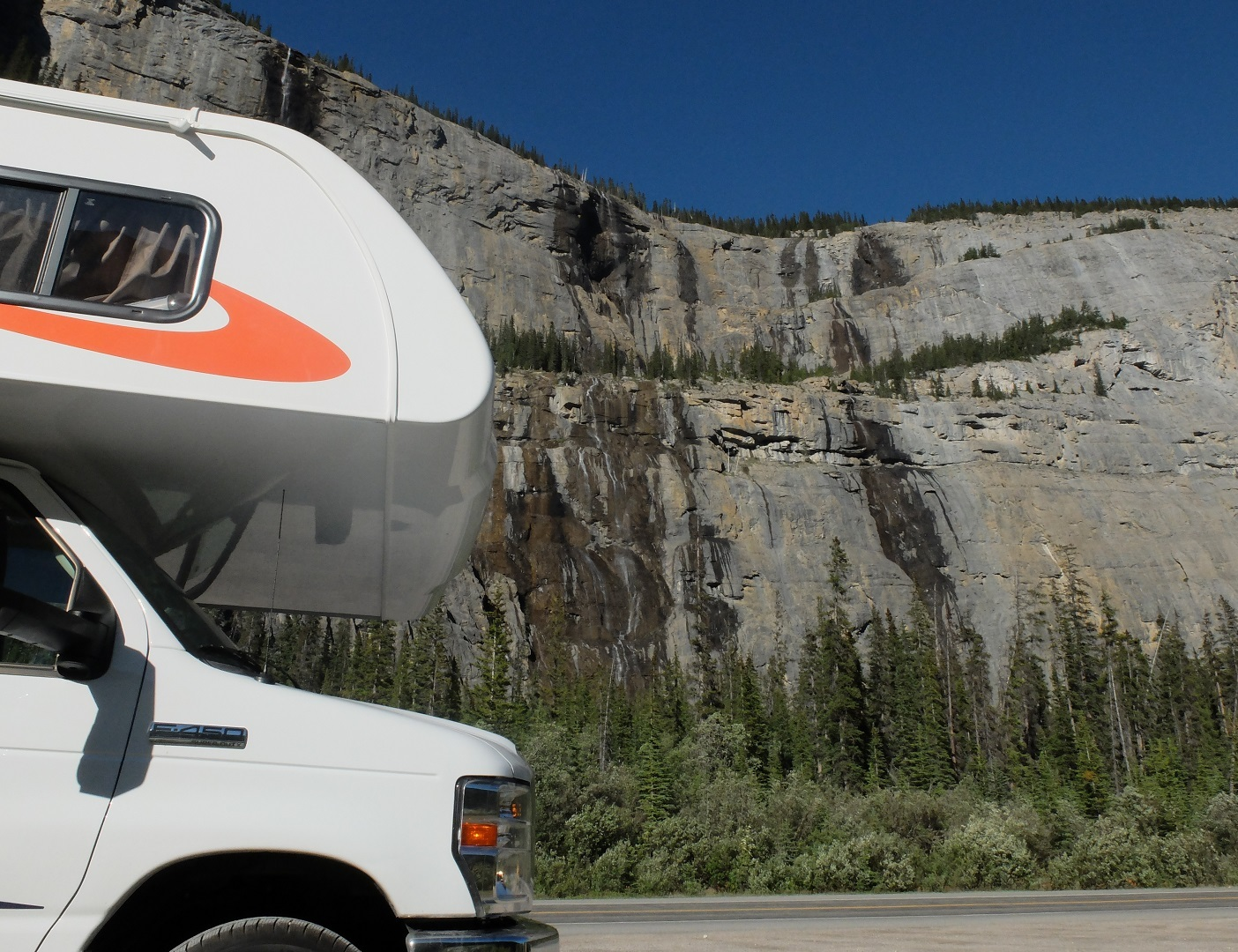 RV driving pass the weeping wall