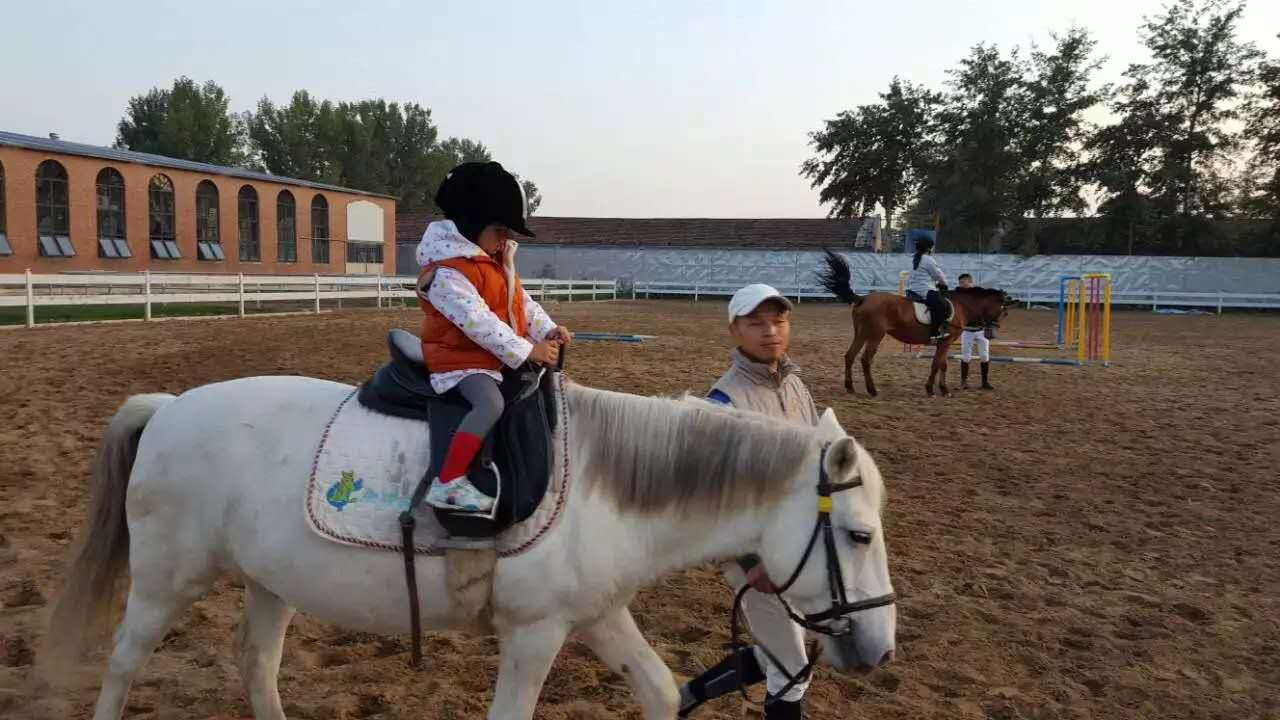 kid riding horse in Beijing