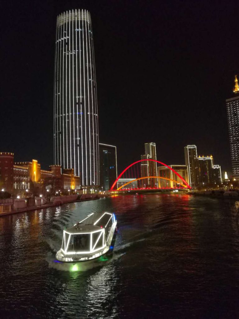 River in the night light tianjin