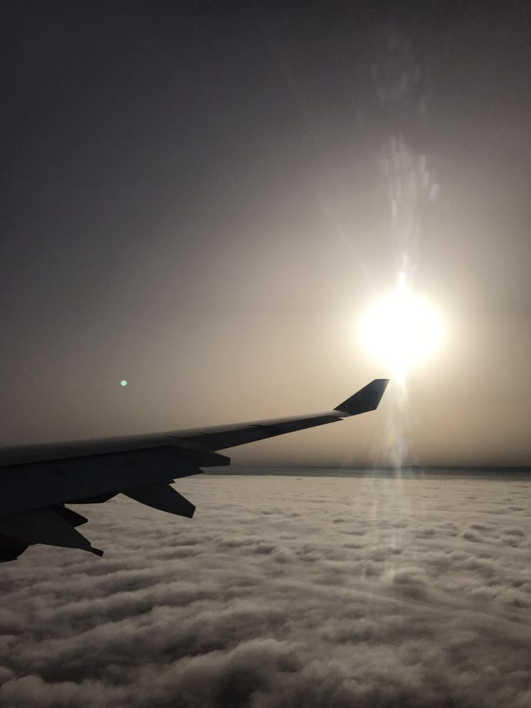 plane in the cloud, from Abu Dhabi to Morocco