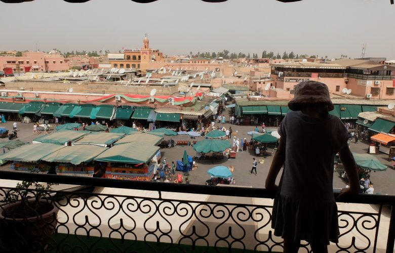 girl facing Jemaa el-Fnaa square, Marrakech