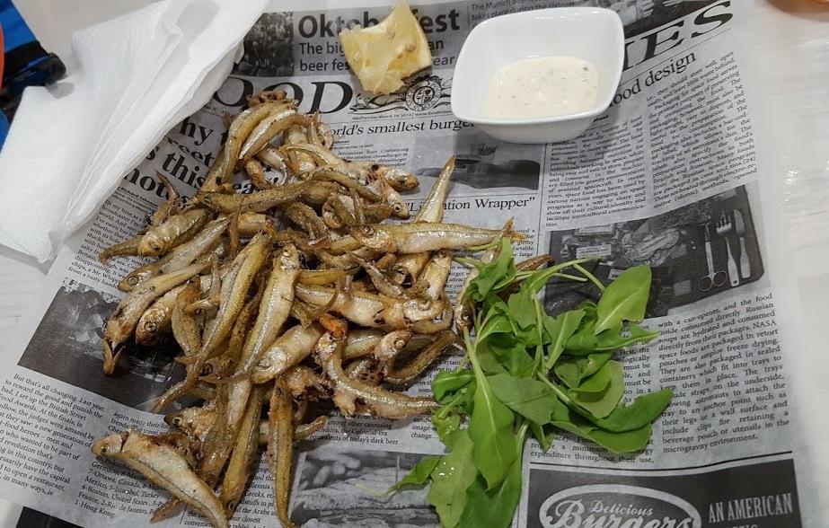 fried white baits - split
