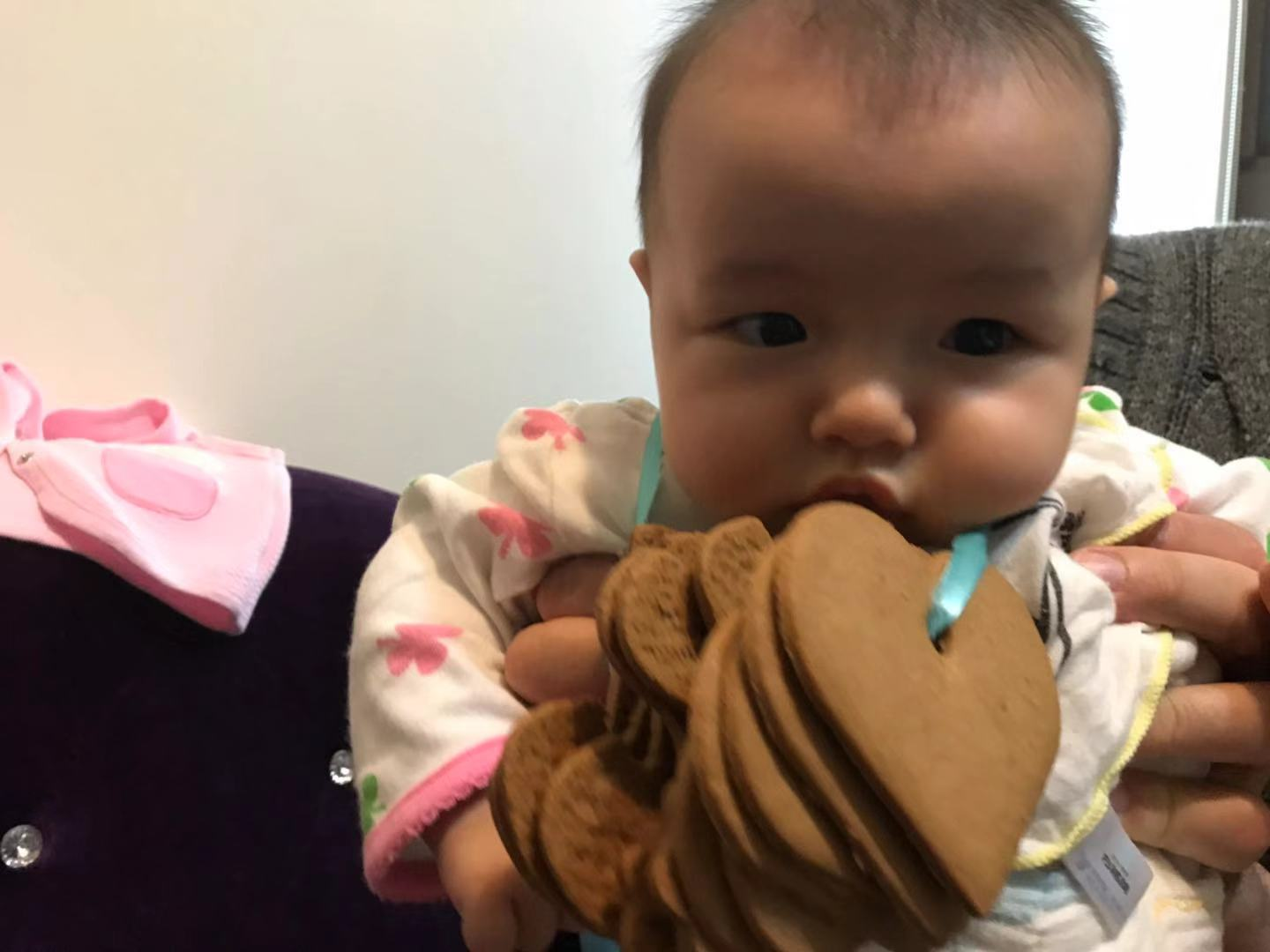 baby pretend to eat cookies