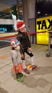 kids waiting for taxi at the Taoyuan airport taiwan, during covid